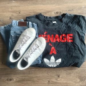 Ménage a Adidas Black Tee